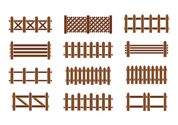Деревянный забор установлен. различные конструкции заборов и стен. Premium векторы
