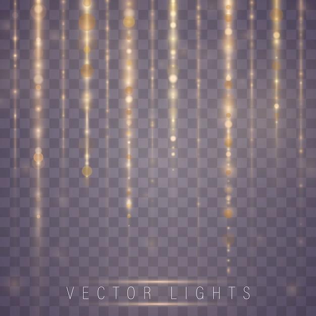 Светящийся волшебный световой эффект и длинные следы огня движения. Premium векторы