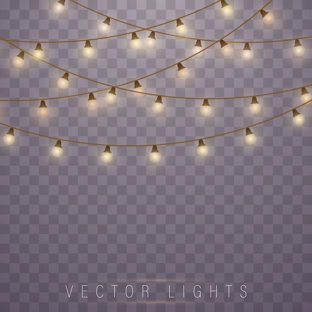 黄色のクリスマスライト、現実的なデザイン要素。 Premiumベクター