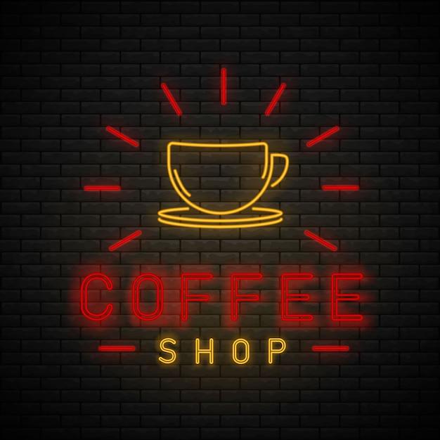 Кофейня неоновый свет. неоновая вывеска кафа на кирпичной стене. Premium векторы
