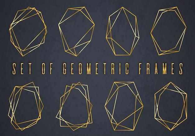 幾何学的な多面体のゴールドコレクション Premiumベクター