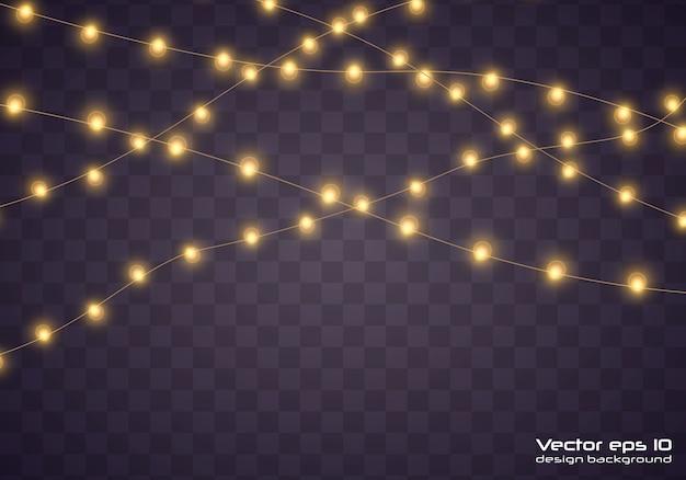 黄色のクリスマスライト。クリスマス輝く花輪。 Premiumベクター