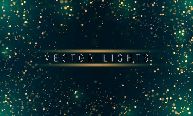 Золотой светящийся фон с красочными огнями боке. Premium векторы