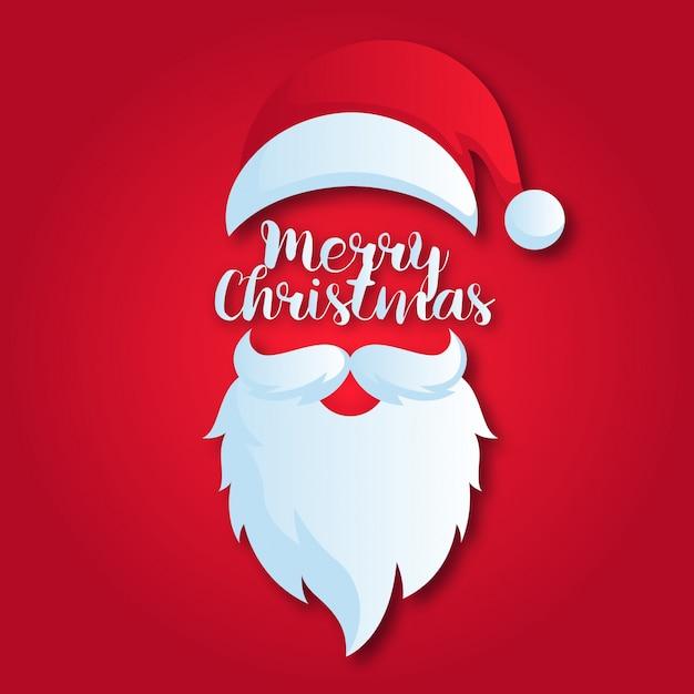 かわいいメリークリスマスペーパーアートカードイラスト 無料ベクター