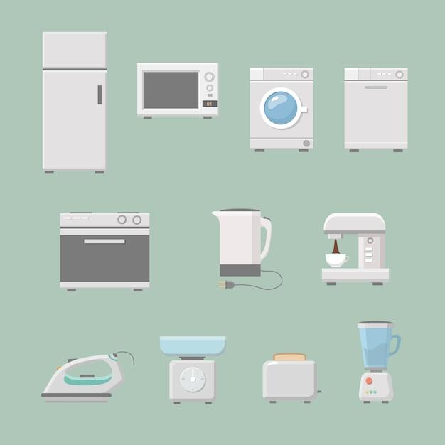Набор кухонной техники плоский со стиральной машиной Premium векторы