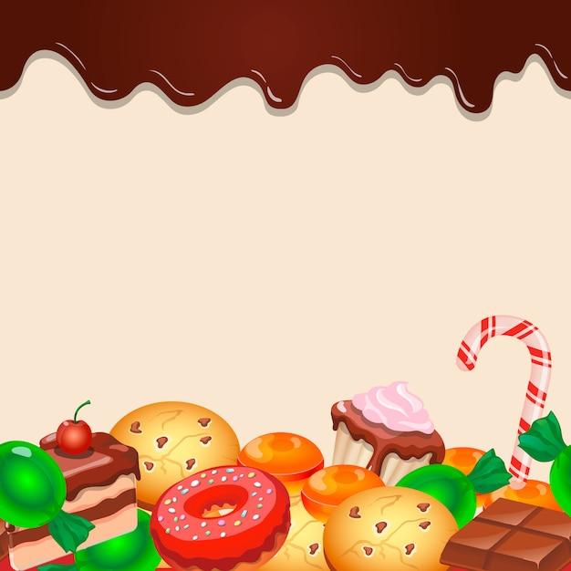 シームレスパターン背景カラフルなお菓子お菓子とチョコレート Premiumベクター