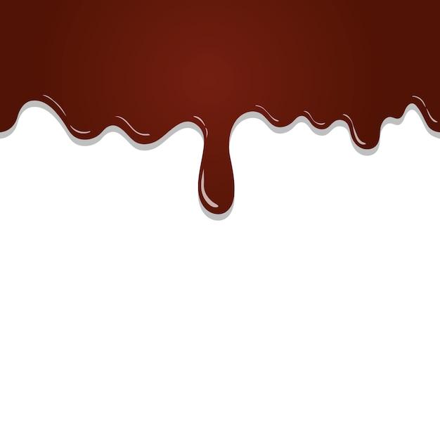 白い背景に分離された溶かされたチョコレートを流れるシームレスパターン Premiumベクター