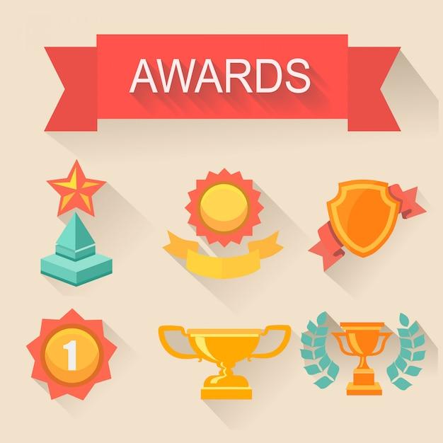 Набор трофеев и наград. плоский стиль Premium векторы