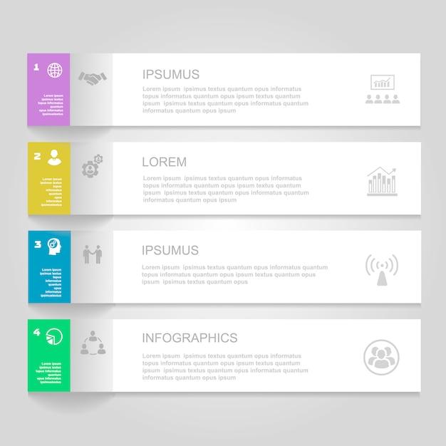 Инфографика дизайн шаблона. пронумерованные баннеры, горизонтальные линии выреза для графики Premium векторы