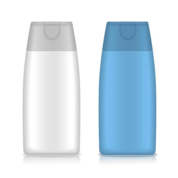 化粧品包装、プラスチックシャンプーまたはシャワージェルボトルテンプレート Premiumベクター