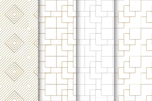 創造的な抽象的な幾何学的なシームレスパターンセット Premiumベクター