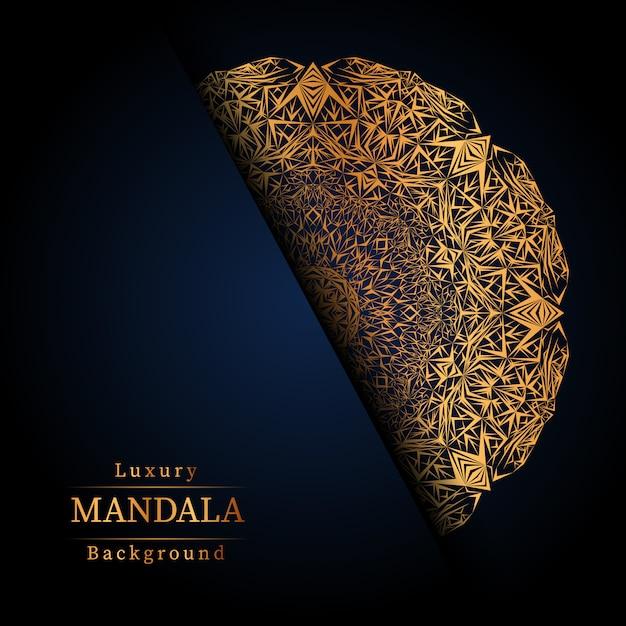 Роскошный декоративный фон дизайн мандалы в золотой цвет, роскошный фон мандалы для свадебного приглашения, обложки книги. Premium векторы