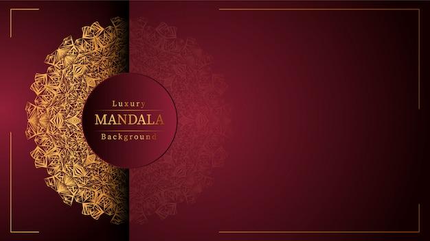 Золотая мандала с красным фоном Premium векторы