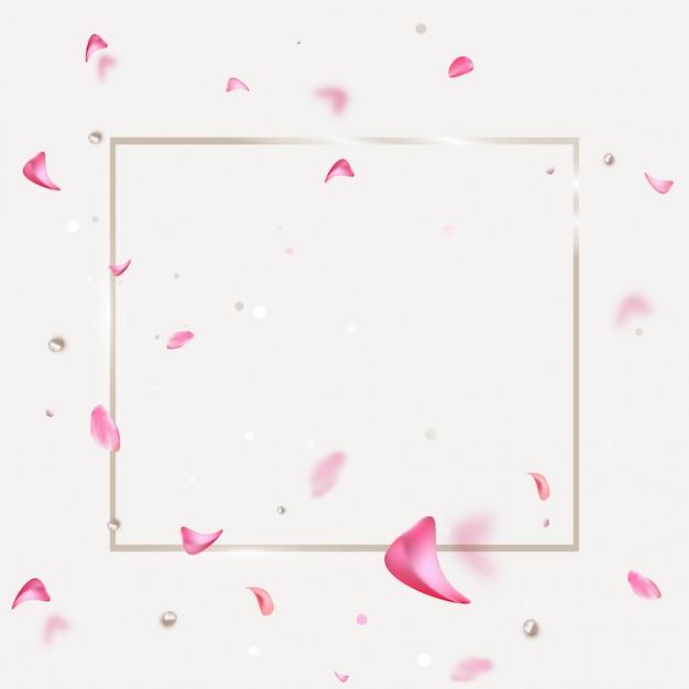 Весенняя распродажа баннер с летающими розовыми лепестками. Premium векторы