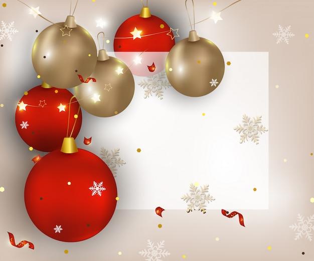 Открытка с новым годом и рождеством. фон с елочные шары, огни, конфетти, снежинки, место для текста. баннер для распродаж, акции, приглашения на вечеринки .. Premium векторы