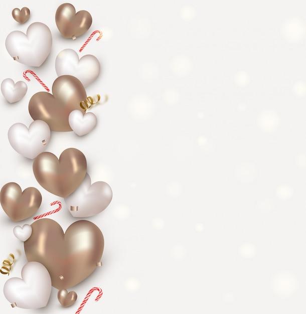 バレンタインデーのためのかわいいハート、キャンディー、紙吹雪。フラットレイアウトデザイン。 Premiumベクター