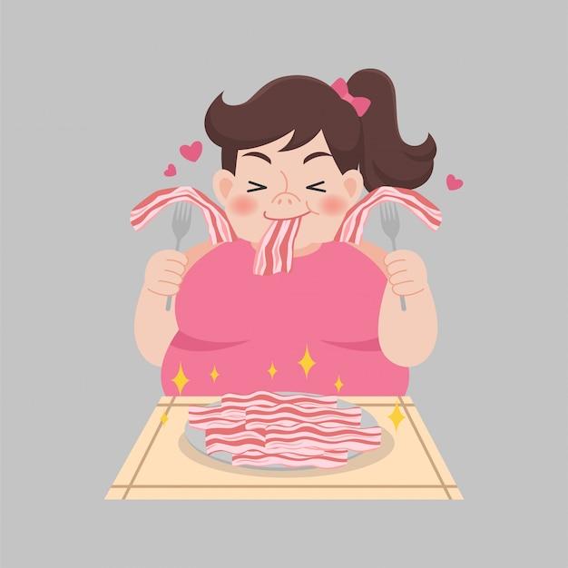 Толстая женщина любит бекон наслаждаться едой Premium векторы