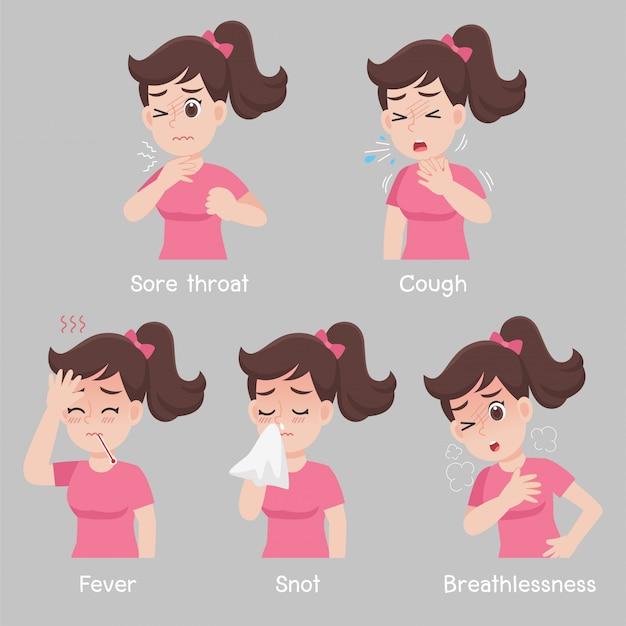 Набор женщины с различными симптомами заболеваний - боль в горле, кашель, лихорадка, сопли, одышка Premium векторы