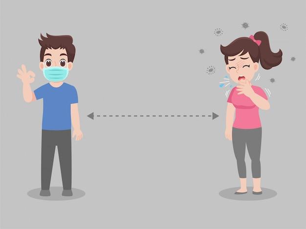社会的距離、感染リスクと病気の距離を保つ人々 Premiumベクター