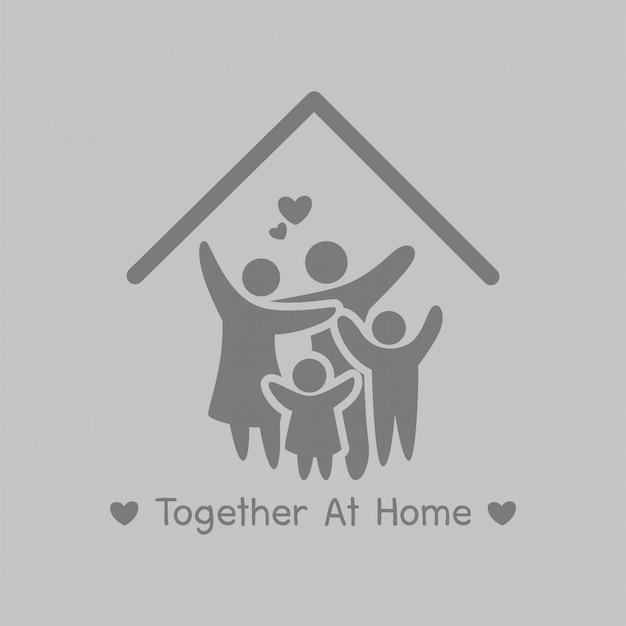 ホームキャンペーンで一緒に、安全に家にいてください。社会的距離 Premiumベクター