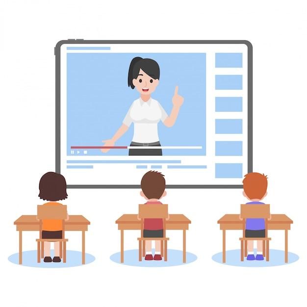 Онлайн-учитель на планшетном мониторе обучающий учебный урок для ученика Premium векторы
