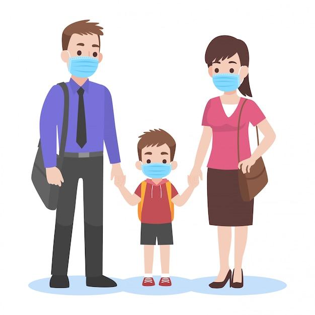 Родители берут детей в школу в хирургической маске Premium векторы