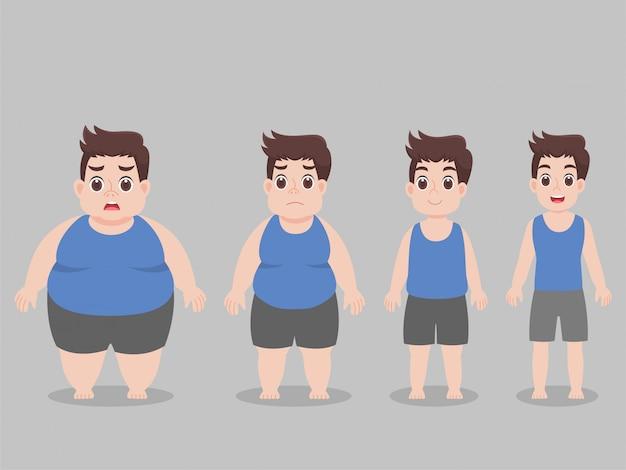 体重を減らすためのキャラクタービッグファットマン Premiumベクター