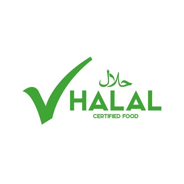 イスラム教徒の伝統的なハラル食品アイコンベクトル。バッジ、ロゴ、タグ、ラベル。バンに適しています Premiumベクター