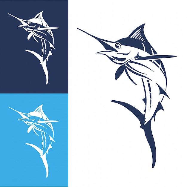 Рисованная рыбка марлина Premium векторы