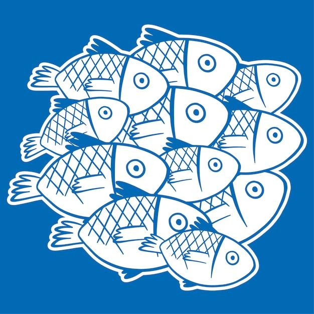 青い背景に白い魚 無料ベクター