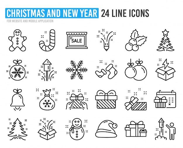 Рождественские иконки линии. набор колпак санта-клауса, колобок и подарочная коробка. Premium векторы