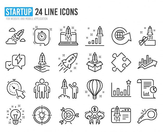 Иконки запуска линии. набор запуска проекта, бизнес-отчета и цели. Premium векторы