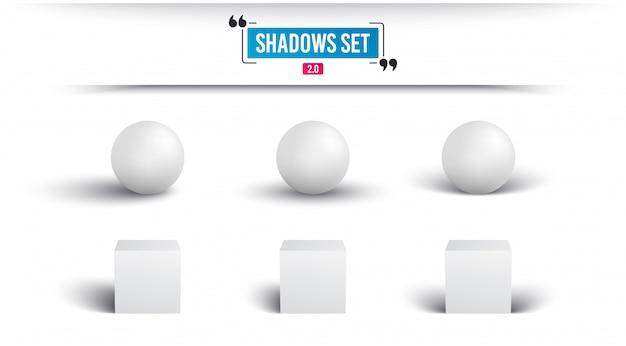Тени установлены. реалистичная сфера и куб с тенью. Premium векторы