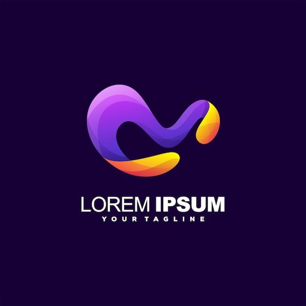 Буква м градиентный дизайн логотипа Premium векторы