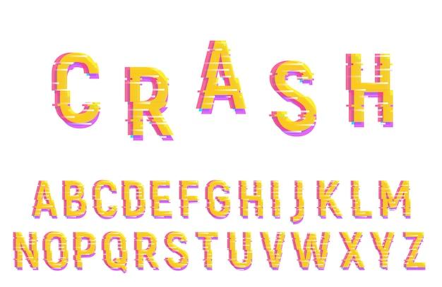 グリッチフォントアルファベット。歪んだベクトル書体 Premiumベクター