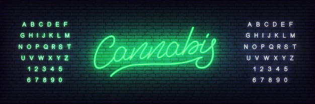 Конопля неоновая. светящиеся буквы конопли для конопли, магазина марихуаны или бусин Premium векторы