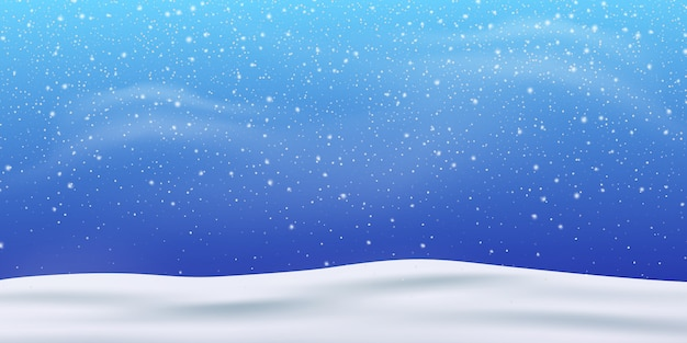 雪。冬のクリスマス吹雪の吹雪。降雪、雪片 Premiumベクター