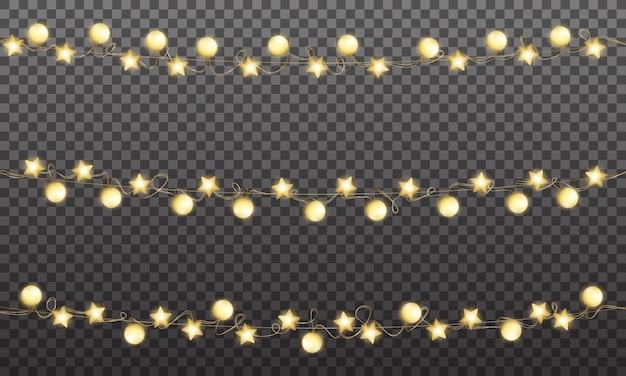 クリスマスゴールドガーランド、クリスマスと新年のお祝いのための光沢のある黄金の装飾 Premiumベクター