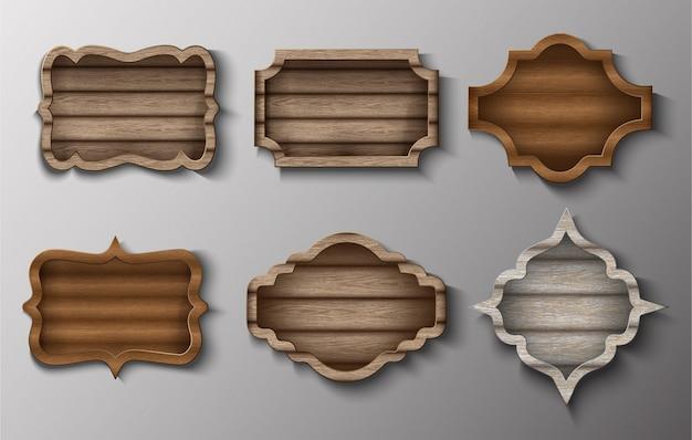 ベクトル木製フレームと看板のコレクション。 Premiumベクター