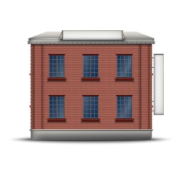 屋根の上の側と上部のバナーと赤レンガの建物の現実的なアイコン。 Premiumベクター