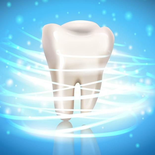 Зуб с отражением и сверкает вокруг. Premium векторы