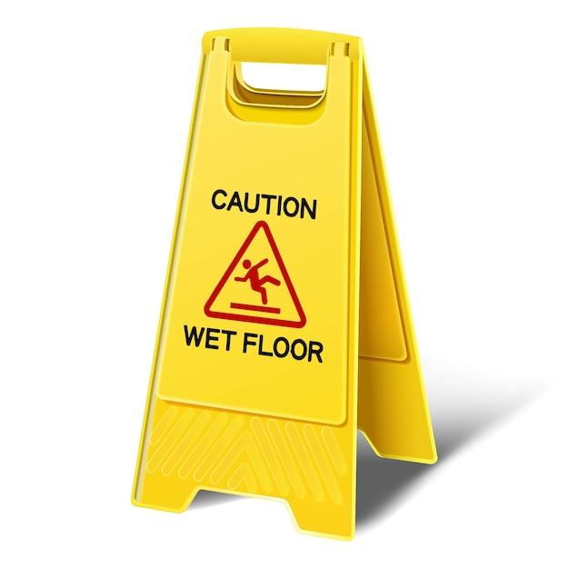 Осторожно мокрый пол желтый пластиковый пол знак. значок иллюстрации на белом фоне. Premium векторы