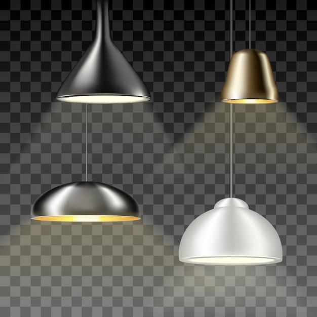 吊りシャンデリア、ランプ、電球のコレクション Premiumベクター
