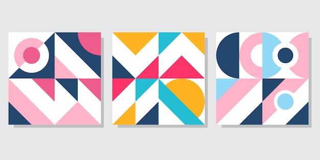 幾何学的な抽象的なカバーセット Premiumベクター