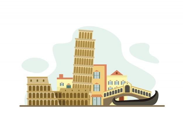 Фон знаменитых достопримечательностей италии Premium векторы