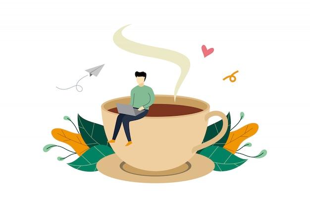 Перерыв на кофе, мужчина сидит на огромной кофейной чашке Premium векторы
