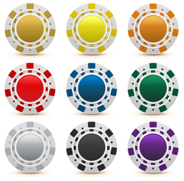 Установить игровые фишки казино Premium векторы