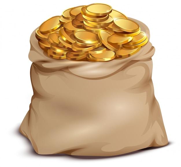 Золотые монеты на открытой полной сумке, изолированные на белом Premium векторы