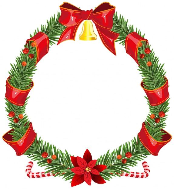 赤いリボンとベルとクリスマスのモミの花輪 Premiumベクター