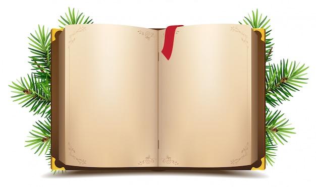 空白のページと赤いブックマークで本を開きます。緑のクリスマス松の枝 Premiumベクター